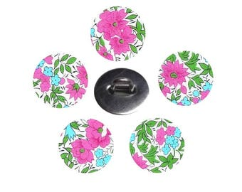 5 buttons covered with liberty fabric Rosalind size and color optional made handmade in France