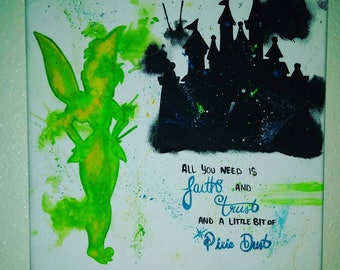 Tinkerbell canvas painting Tinkerbell room decor Tinkerbell watercolor