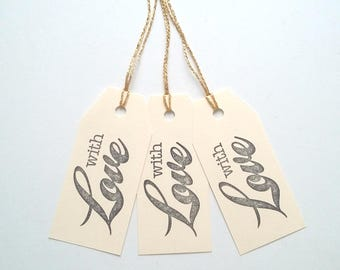 Set of 6 handmade Christmas/birthday gift tag labels