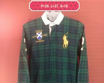 Vintage Polo Ralph Lauren Tshirt Long Sleeve Spellout Big Logo Embroide Shirt Blackwatch Multi Colour Size M Polo Bear Polo Sport Stadium