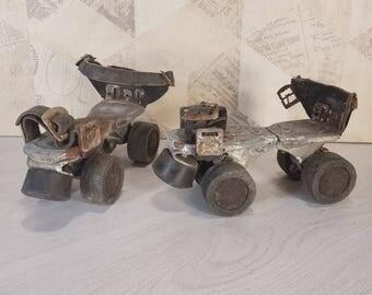 Metal roller skates, Vintage roller skates, Old german roller skates, Roller skates from 60s, Brown roller skates, Retro roller skates
