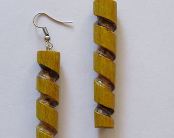 Handmade wood earrings spiral style
