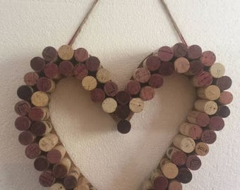 Heart cork art wall hanging 12 inches