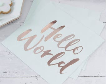 Hello World Paper Napkins, Baby Shower, Mint And Rose Gold, Party Napkins,