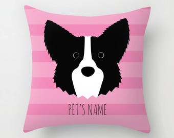 Border Collie Pillow, Border Collie Cushion, Decorative Border Collie Cushion - Dog Pillow, Dog Gift, Custom Dog Name Pillow