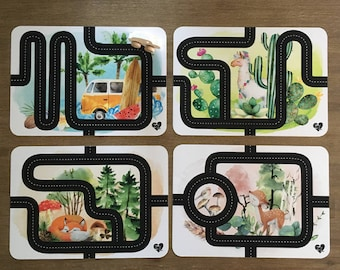 Set 4 placemats + 1 car wood handmade