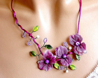 Purple and green floral jewelry necklace