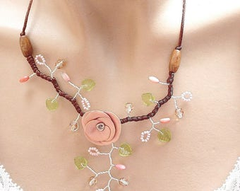 Flower necklace pink green and Brown