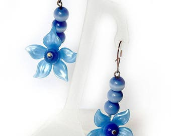 Fancy Blue Flower Earrings