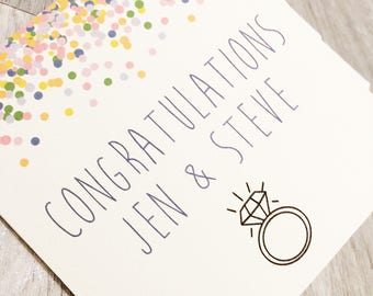 Congratulations, Engagement, Marriage, Personalised Greeting Card, Couples Gift, Embossed Card With Envelope