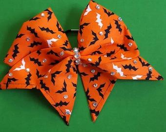 Hand sewn halloween bat cheer bow