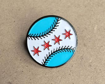 Chicago Flag Baseball Pin - Chicago White Sox and Chicago Cubs Fans Alike!