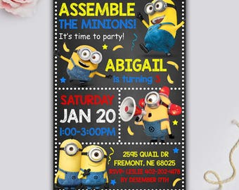 Minion invitation, Minion Birthday, Minion Party, minion birthday invitation, Minion Printable, Minions Birthday Party, Minion Card