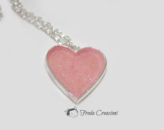 Glitter heart - Necklace - Resin - Charm - Pink - OOAK