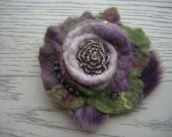 Rose-felted flower brooch purple fur