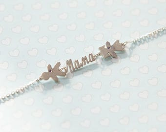 Silver mom's bracelet Two Kids + Word and Engraving of names and birth dates