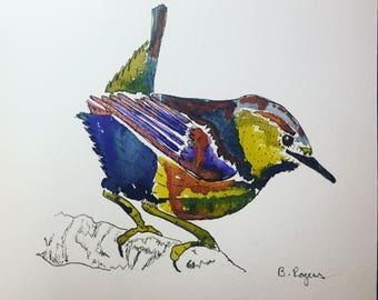 Original Watercolor Wren Bird Art