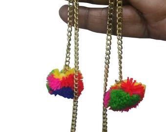 A2 Fashion's Trendy Multicolour Hanging Pompom Earring,Dangle Earring,Long PomPom Earring