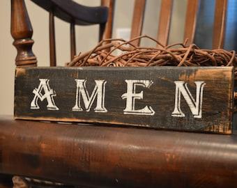 Handmade Reclaimed Pallet Wood Distressed AMEN Sign