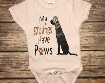 My sibling has paws onesie
