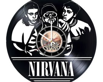 Nirvana Vinyl Record Wall Clock gift idea wall art decor