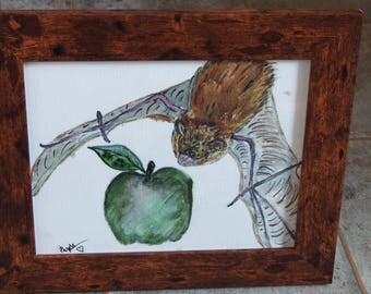 Watercolour Bat and Apple, Home Decor, Wall Art decor, Rustic effect framed art, Animal home decor, Original One Off, fruit art decor