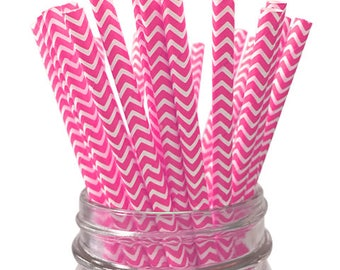 Hot Pink Chevron 25pc Paper Straws