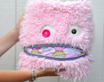 Pink Snowflake Monster Pillow & Blanket