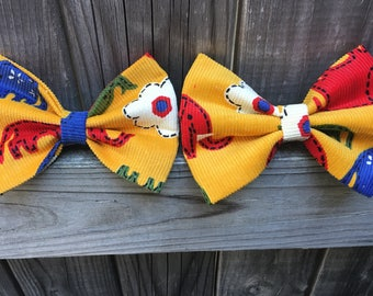 Yellow Red Blue Elephant White Flower Bow