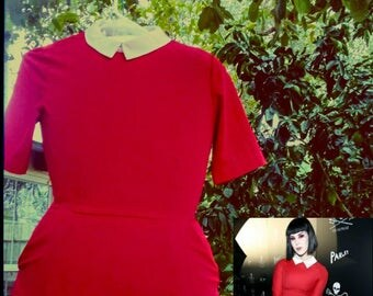 "Red Retro ""Wednesday Adams"" Collared Mini-Dress"