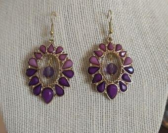 Purple and Gold Tear-Drop Earrings