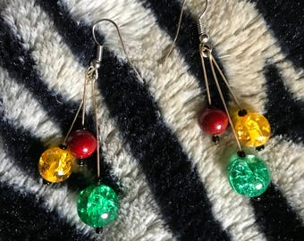 Lionezz- Red, Yellow & Green Glass Beads Fashion Earrings