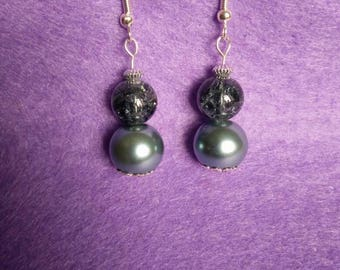 Grey glass and pearl drop earrings