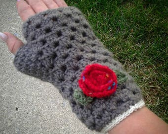 Brown fingerless crochet rose texting gloves for women.