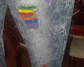 Custom Distressed Pride Jeans (RAINBOW)