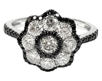 Black and White Diamond Gold Floret Ring