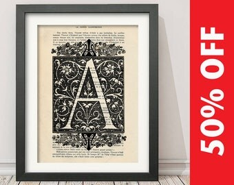 The Letter A Vintage French Alphabet - Mixed Media Art Dictionary Page Book Art Print - N001