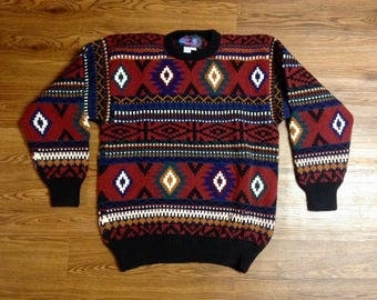 Vintage Aztec Design Sweater. Vintage Sweater. 80s Sweater. Ugly Sweater. Wool Sweater. Medium. Patterned. Ugly Sweater. Hipster. Sweater.