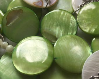Lime Green Shell Quarters Necklace & Bracelet