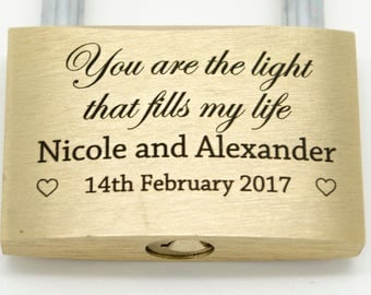 Highly personalised Love Lock Padlock. Yours words and graphics. Free engraving.