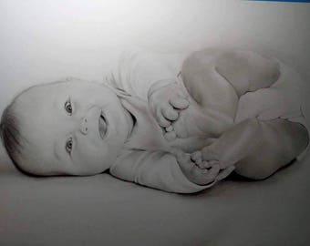 Personalized portrait, Custom portrait, Custom pencil dlportrait, pencil drawing, realistic portrait, handmade drawing