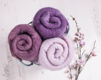 Purple Rustic Wool Layer Fluff, Newborn prop, basket stuff, blanket or wrap. Organic soft versatile look.