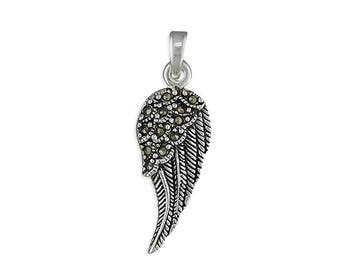Marcasite Angel Wing Sterling Silver Pendant