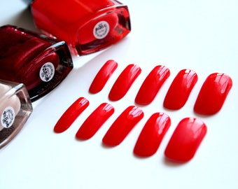 Red fake nails Bright red artificial nails Cheery red False nails Candy Red Fake nails set Red Glue on nails Press on nails Bright red nails