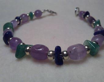 Beaded bracelet Amethyst Aventurine and Sodalite