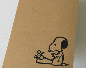 "Snoopy Typewriter Greeting Cards Set of 5 - Blank Inside - 4"" x 6"""