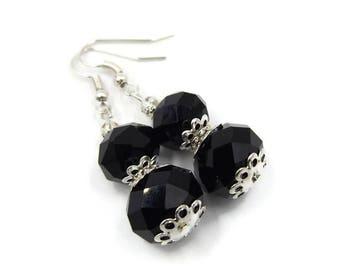 Jet Black Earrings | Dangle Drop Earrings | Antique Style Silver Plated Retro Jewelry