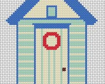 Beach Hut - Cross Stitch - pdf pattern