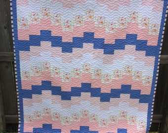 Toddler or child's nap quilt. Pink, white and blue. Elephant fabric.