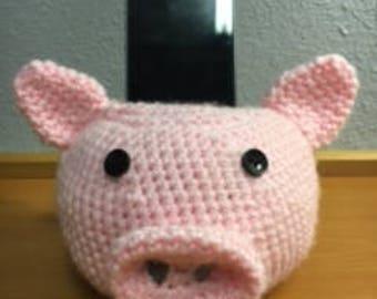 Crochet Pig Smart Phone Holder